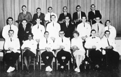 Ethel D. Allen is one of only two women in the Philadelphia College of Osteopathic Medicine Internal Medicine Society, ca. 1963