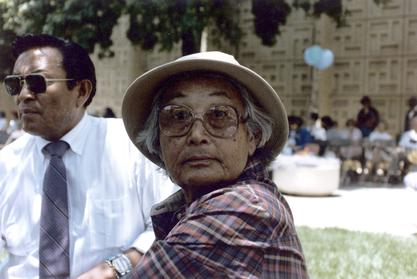 Lori Arviso Alvord's father and paternal grandmother at her graduation from Stanford Medical School, 1985