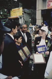 Barbara Barlow with Congressman Charles B. Rangel (NY) receiving the United States Department of Transportation Safe Community Award, 1996