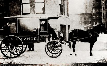Emily Dunning Barringer riding in the Gouverneur Hospital ambulance, ca. 1902