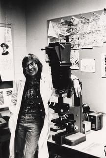 Ruth Bleier with her electron microscope, 1980's