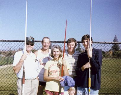 Frances Conley, with athletes Vic Johnson, Phil Conley, Bruce Kennedy, and Greg Johnson at Stanford University, 1971