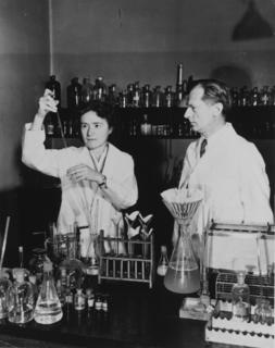 Gerty Cori and her husband Carl Cori in the laboratory at Washington University School of Medicine, St. Louis, 1947