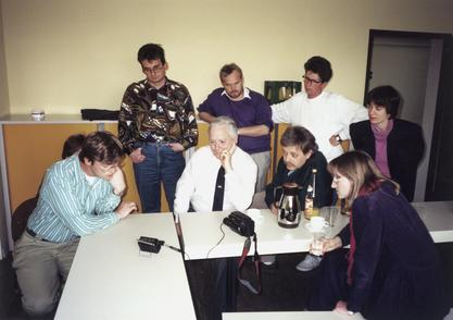 Ruth Dayhoff showing a video tape of the VistA Imaging System to the department of Dr. Wolfgang Giere at the University of Frankfurt.  Dr. Giere was instrumental in the development of medical record systems in Germany, and strongly encouraged Ruth in her