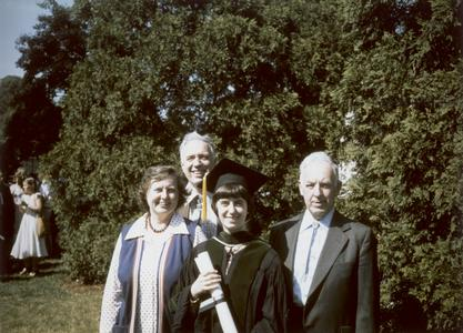 Ruth Dayhoff with her parents Dr. Margaret Oakley Dayhoff and Dr. Edward Dayhoff, and her grandfather Kenneth Oakley at her graduation from Georgetown Medical School, 1977