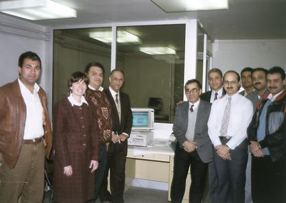 Dr. Ruth Dayhoff (second from left), Dr. Omar El Hattab (third from left) with other staff at the National Cancer Institute of Egypt where the VA's hospital information system is running.  In a United Nations funded effort, Ruth assisted in technology tra