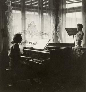 Katherine Dreschler as a teenager taking piano lessons, ca. 1940
