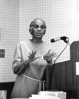 Lena F. Edwards testifying to the governor of Georgia to request programs to allow senior citizens to remain in their own homes, Atlanta, 1976