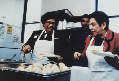 Surgeon General Joycelyn Elders and Secretary of the Department of Health and Human Services, Donna Shalala at a soup kitchen, 1994