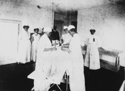 Matilda Evans in the operating room of Taylor Lane Hospital, the hospital she founded in 1901