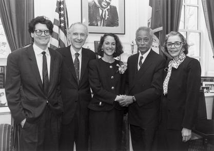 Margaret Hamburg with New York City Mayor David Dinkins and her family after being sworn in as health commissioner, 1992