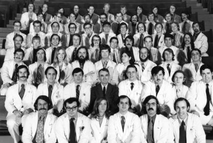 Bernadine Healy (third row, third from left) with her Harvard Medical School class, ca. 1970