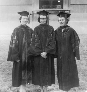 Lissy Jarvik, right, with two of her friends from medical school, Lois Lyon Newmann and Ruth Mathewson, ca. 1954