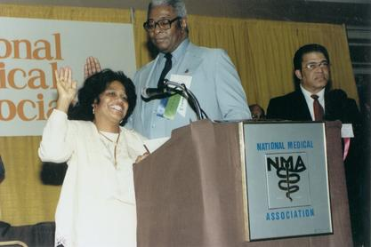 Edith Irby Jones being inducted as president of the National Medical Association, 1985