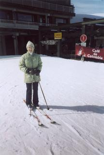 Mary E. King skiing in France, 2000