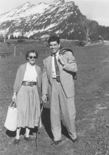 Elisabeth Kübler walking in the mountains with her future husband, Emanuel Ross, in Austria, ca. 1955