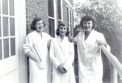 Edithe J. Levit with friends in the second year of medical school, ca. 1949