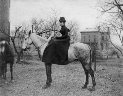 Dorothy Reed Mendenhall outside Kimball House, 1888