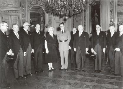 Louise Pearce receiving honors from the King of Belgium for her work on sleeping sickness, 1953