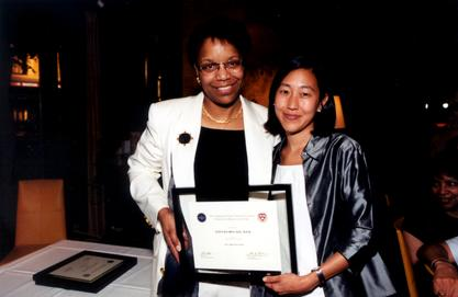 Joan Y. Reede with fifth year fellow Dr. Alice Chen at the Commonwealth Fund graduation, 2001