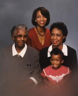 Joan Y. Reede with her daughter Loretta Jackson, mother Tommye Reede and grandmother Alice Bacon, ca. 1989