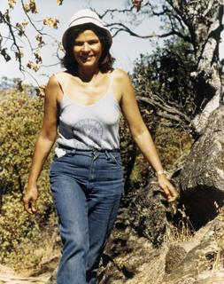 Helen Rodriguez-Trias hiking. This was her favorite picture which she kept on her office, ca. 1970