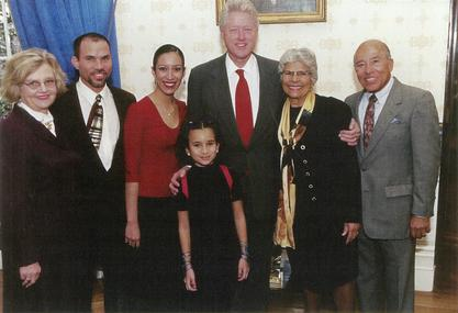 Helen Rodriguez-Trias with President Bill Clinton at the Citizens Award ceremony, ca. 2000