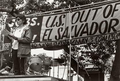 Helen Rodriguez-Trias speaking at a demonstration in New York City, 1970s