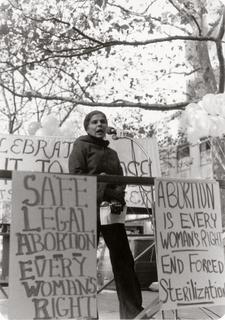 Helen Rodriguez-Trias speaking at an abortion rights rally, 1970s