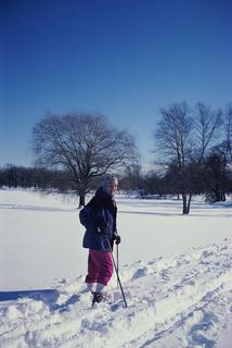 Janet D. Rowley skiing, 2001