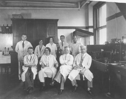 Florence Sabin with her laboratory staff at the Rockefeller Institute, 1930