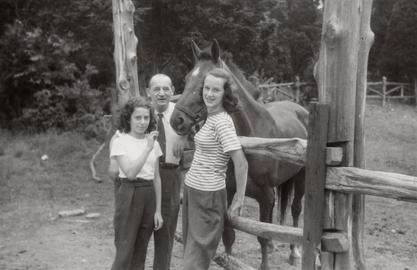 Marianne Schuelein with her father Curt and friend Gaby Stein, ca. 1947
