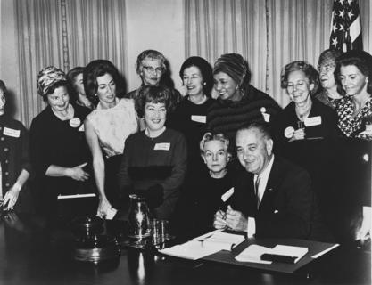 Helen Taussig (standing, center) at Medal of Freedom Award ceremony with Lyndon B. Johnson, 1964