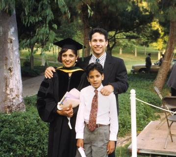 Michelle Bholat with her two sons, at her graduation from the University of California, Irvine College of Medicine , 1992