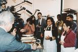 Surgeon General Joycelyn Elders and Secretary of the Department of Health and Human Services, Donna Shalala speaking to the media at a soup kitchen, 1994